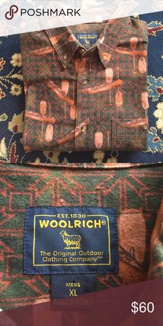 """Woolrich Vintage Flannel Men's - 🛶 Love the outdoors and canoeing? This is your shirt! Cotton Flannel, well loved and in great condition. Breast pocket with spot for pen! 26.75"""" underarm to underarm and 32"""" L Woolrich Shirts Casual Button Down Shirts"""