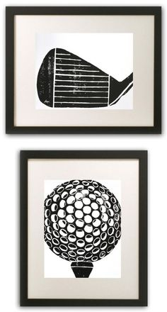 Golf Club Art Print handcarved & printed Iron by AnneHallDesigns