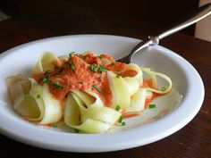 Zucchini Pasta with Red Pepper Coulis