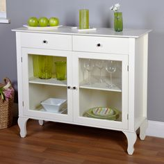 complete the look of your living space with this antique white sideboard buffet console table with glass doors the buffet features two drawers