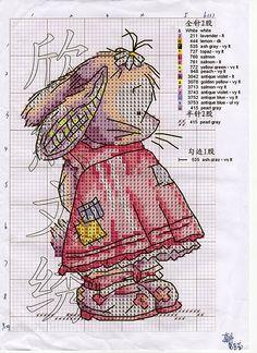 ♥ (>..<) ♥.вышивка крестиком зайка розовое розовый детское звери животные