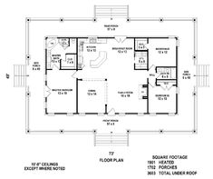 First Floor Plan of Country House Plan 46666