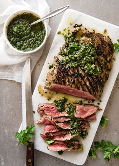 Chimichurri Steak with Chimichurri Sauce - Parsley, oregano, red wine vinegar, olive oil and garlic is all you need to make this famous Argentinian sauce! www.recipetineats.com