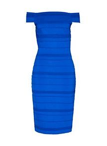 View product Ted Baker Inan Stripe Texture Bardot Dress