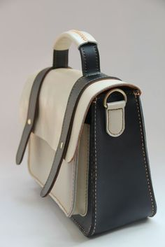 Handmade Leather Women's Handbag / Satchel / Messenger Bag - Black with White