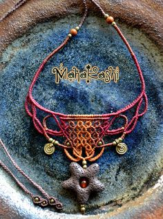 Macrame necklace Magma with Lava stone from by MahakashiCreations