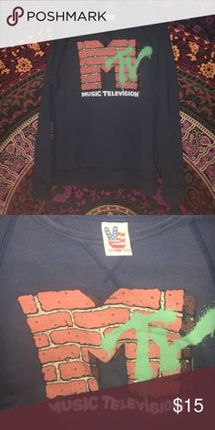 mtv crewneck! dark/navy blue crewneck sweatshirt with the mtv logo on it. cute hipster style. worn only a couple times, like new. accepting offers & bundles! Junk Food Clothing Tops Sweatshirts & Hoodies
