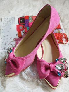 Morpheus Boutique  - Pink Crystal Metal Leather Ballet Flats