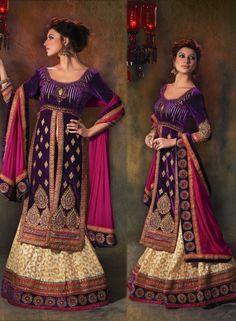 Designer Wedding Lehnga Choli In Purple & Cream  . Buy at - http://www.gravity-fashion.com/women/lehenga/designer-wedding-lehnga-choli-in-purple-cream.html