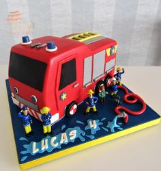 Firefighter Birthday Cakes, Thomas Birthday Cakes, Truck Birthday Cakes, Fireman Birthday, Fireman Party, Monster Truck Birthday, Birthday Fun, Fire Engine Cake, Fireman Sam Cake