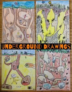 Second graders are finishing up some really creative drawings set under the ground, so we did a lot of visualizing to come up with our ideas. We looked at some classic book illustrations by Garth Will Art Sub Plans, Art Lesson Plans, Kids Art Class, Art For Kids, 2nd Grade Art, Grade 2, Third Grade, Art Curriculum, Cool Art Projects