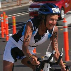 82 year old nun doing one of her 29 Ironman competitions