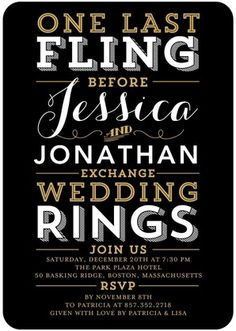 Fling and Rings - Signature White Bachelorette Party Invitations - East Six Design - Black : Front Lego Wedding, Pre Wedding Party, Wedding Events, Party Party, Party Ideas, Wedding Ideas, Weddings, Bachelor Party Invitations, Bachelorette Party Invitations
