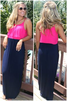 Days Of Grace Hot Pink And Navy Color Block Maxi Dress