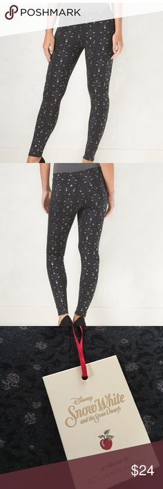 LC Lauren Conrad Disney Leggings Black Snow White Disney's Snow White Collection by LC Lauren Conrad  Medium Apple Black Leggings with a whimsical design that features a touch of sparkle flowers.  From Kohls, these leggings are no longer available online. LC Lauren Conrad Pants Leggings