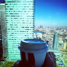 Great view of the City with my morning Flat White   - going to need the #caffeinefix after the long weekend! #lovethatview #london #bluesky #girlabouttown by justine_dawson