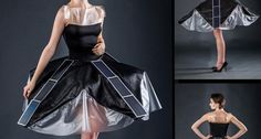 This dress supports four strips of solar panels. The photovoltaic panels convert sunlight into electricity — enough to recharge a smartphone tucked inside a hidden pocket.