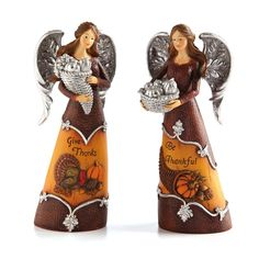 2 Piece Turkey Fixings Angel Polystone Table Decor Set (Set of 2)