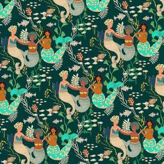"""Playing with the mermaids"" - Justina Blakeney #patternsbyjustina"""