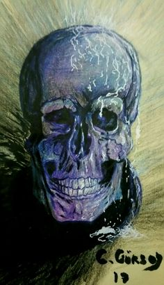 Drawing skull with colored pencil.