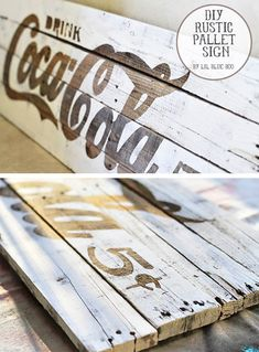 DIY Painted Pallet Sign Projects- Tutorials, including this DIY Coke sign from Little Blue Boo! Pallet Crafts, Pallet Art, Pallet Signs, Diy Crafts, Diy Pallet, Outdoor Pallet, Pallet Ideas, Decor Crafts, Clock Vintage