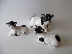 VINTAGE Black & White Cow Sugar Bowl, Salt and Pepper Set - Just Too Cute! - GC