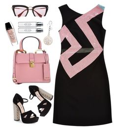 """Versace dress"" by thestyleartisan ❤ liked on Polyvore featuring Versace, Miu Miu, Byredo and Guerlain"