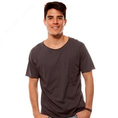 Basic Raw Edge Dark Grey Tee