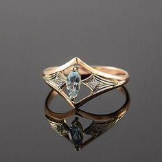 Art-Déco-Ring Topas Ring geometrische Ring von JewelryAsteria