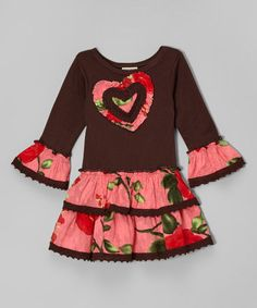 Another great find on #zulily! Brown & Pink Heart Floral Tiered Dress - Toddler & Girls #zulilyfinds