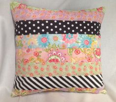 """Mackenzie Child's Inspired 16"""" square Multi Fabric Pillow  Cover.......Reversible.........With Invisible Zipper........NEW"""