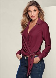 Order a sexy Wine Surplice Side Tie Blouse from VENUS. Shop short sleeve tops, tanks, tees, blouses and more at an affordable price today! Latest Fashion For Women, Womens Fashion, Colored Skinny Jeans, Surplice Top, Tie Blouse, Long Sleeve Tops, Piercings, Grunge, Mix And Match Bikini