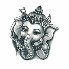 The wide ears that the Elephant-God has, advises humans to understand and seek the truth always. Arte Ganesha, Ganesha Sketch, Ganesha Drawing, Lord Ganesha Paintings, Lord Shiva Painting, Ganpati Drawing, Shiva Art, Hindu Art, Tattoo Painting