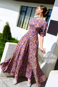 I'd choose an alternate print, and make the sleeves a bit differently, but I like this coverage Maxi dress by katerina dorokhova Modest Dresses, Modest Outfits, Modest Fashion, Pretty Dresses, Fashion Dresses, Summer Dresses, Dress Skirt, Dress Up, Vestidos Vintage