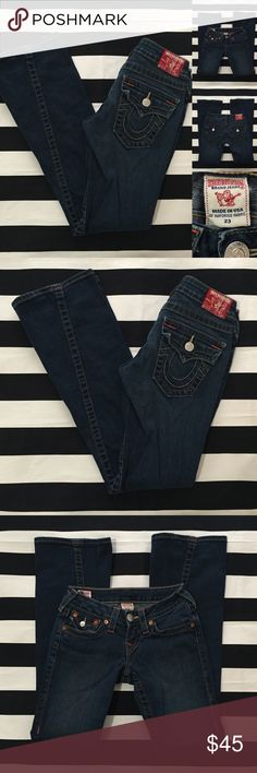 "[true religion] flare leg denim jeans sz23 [true religion] flare leg denim jeans sz23 •great used condition •dark denim •length/inseam 29"" •width of bottom of pant leg is 8.5"" •material 99% cotton 1% elastane •no signs of use/wear •see other brand name denim in my closet •Offers are welcomed using the offer feature and/or bundle for a great deal True Religion Jeans Flare & Wide Leg"