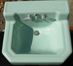 Vintage wall mount sink for bathroom Jadite Green Richmond Porcelain Vintage Bathroom Sinks, Vintage Sink, Vintage Walls, Bathroom Ideas, Old Sink, Wall Mounted Sink, Love Chair, Porcelain Sink, Upstairs Bathrooms