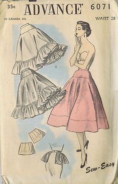 "SIZE WAIST 28 HIP 37"" Advance Pattern Pattern Number 6071 Copyright: 1950s Vintage 50's Petticoat and Half Slip Pattern Petticoat pattern can be sewn with or without ruffle. Pattern includes pattern for hip pads and a hip ruffle."