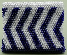 Bead Tapestry Crochet Stripe Change Purse