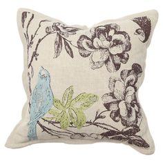 Linen-cotton pillow with a feather-down fill and bluebird motif.   Product: Pillow  Construction Material: Linen-cott...