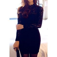 Sexy Turtle Neck Long Sleeve Lace Solid Color Backless Bodycon Women's Dress