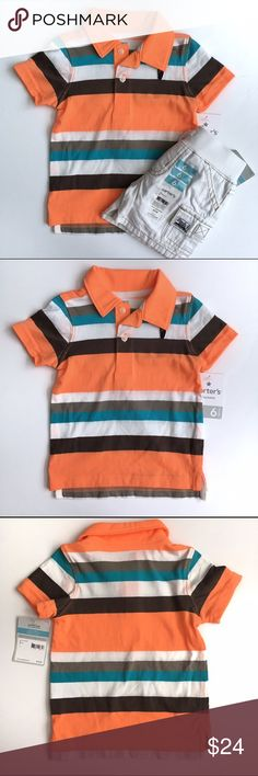 🚀 NWT Carter's Boys Outfit 🚀 NWT Carter's boys outfit includes a striped polo shirt is neon orange brown blue/green and white with off white cargo shorts with elastic waist. 🚀From my nephews closet, smoke and pet free home🚀 Carter's Shirts & Tops Polos