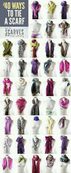 different ways to tie your scarf... i want to start wearing scarves.