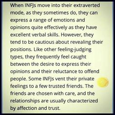 INFJ in the extraverted mode