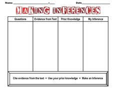 Inferences Worksheet Reading Comprehension Pinterest Inference