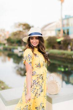 Yellow floral midi d