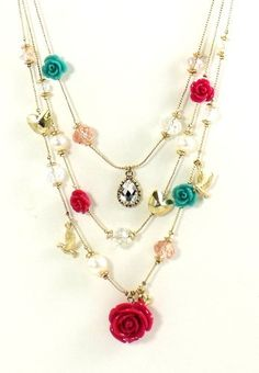Betsey Johnson Jewelry Garden Party Rose Petal Layer Necklace New 2013: Jewelry: Amazon.com