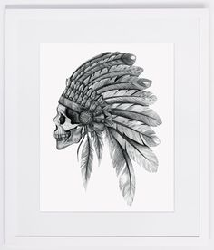 NZFINCH A4 indian chief skull headdress feathers by NZFINCH