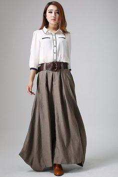 long linen skirt - Gray skirt women maxi skirt - custom made(905)
