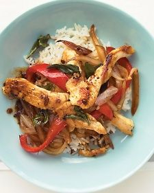 Chicken and Basil Stir-Fry Easy weeknight dinner when you are craving take out. Low ingredient list and speedy prep. I might try with brown rice next time.