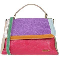 Ebarrito Handbag ($165) ❤ liked on Polyvore featuring bags, handbags, shoulder bags, purple, purse satchel, handbag satchel, leather purses, leather satchel handbags and purple leather handbags
